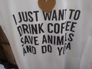 coffee animals yoga tee