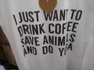 coffee animals yoga tee
